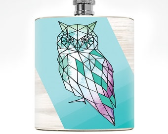 Owl Flask Geometric Drinking Gifts Liquor Women's Flask Hipster Owl Gift Minimalist College Girl Hip Flask Wedding Personalized Stuff Pocket