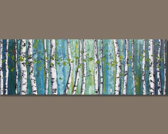 FREE SHIP abstract art, birch trees, panoramic painting, landscape painting, birch tree forest painting, white birch, blue, 12x36, art
