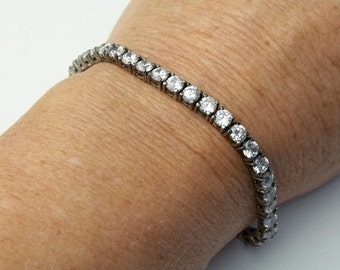 Vintage Sterling Silver & Crystal Tennis Bracelet Fine Jewelry on Etsy