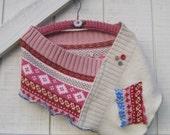 Patchwork shrug, Multi color shrug, cream pink shrug, pink cream coverlet bolero sweater