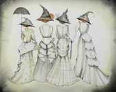 Personal Commission , gifts for sister Four Witches, Sisters, , Whimsical Art,