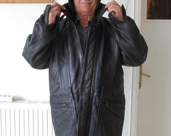 Black Leather Jacket,Mens Genuine Leather Coat,Mens Vintage Cold Weather Coat,size plus size18 to 20,Cold Weather Coats 50,Man's Coats 50e