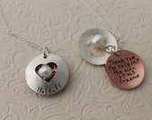 Hand Stamped Jewelry - Thank you for raising the man and woman of my dreams - Locket in Sterling Silver and Copper - Two Necklaces