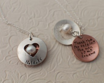 Wedding Hand Stamped Jewelry - Thank you for raising the man and woman of my dreams - Locket in Sterling Silver and Copper - Two Necklaces