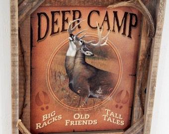 Barnwood framed with decorative  Deer Camp Photo