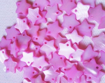 25 Beads - Pink Star Mother Of Pearl Star Beads