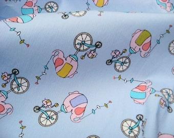 2135 - 1 yard cotton fabric  - Cartoon - elephant and Bicycle on light blue