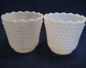 2 Large Anchor Hocking Fire King White Hobnail Milk Glass Planters Cache Pots Vintage 1960s  Pair Matching Planters Wedding Decor