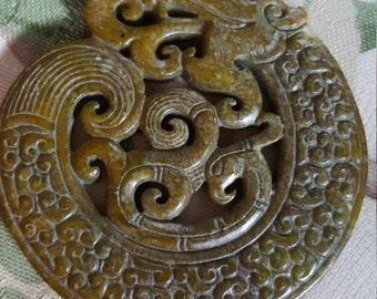 DIY Jewelry Ready 2.5 In. Diameter Real Pacific Rim Exotic Asian Statement Piece Chinese Double Side Dragon Jade Carved Pendant Supply
