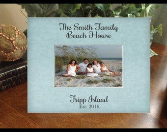 Personalized Picture Frame Any Message Beach Lake Mountain House Vacation Photo Frame Gift