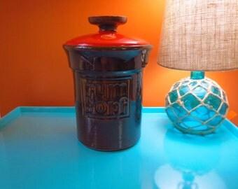 Vintage 1970s MID Century Jasba Keramik West German Orange Pottery Rum Topf Jar
