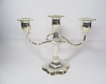 Vintage Silverplate Candelabra - 3 Candle Holder Silver Plate Candelabra
