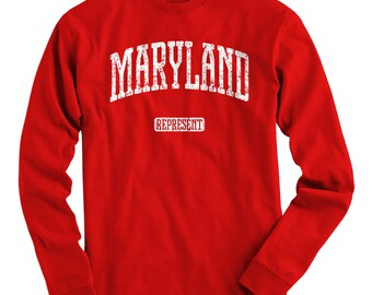 LS Maryland Represent Tee - Long Sleeve T-shirt - Men S M L XL 2x 3x 4x - Gift, Maryland Shirt, Baltimore, Columbia, Germantown, Old Line MD