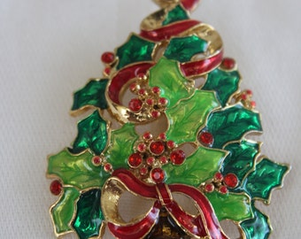 Christopher Radco Christmas Tree Brooch Enamel