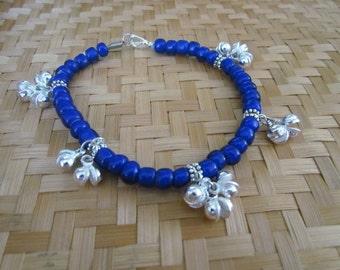 Sister Moon 13 Silver Bells Cobalt Blue White Heart Glass Bead Anklet