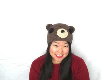 Grizzly Woodland Bear--Cute Kawaii White Grizzly Bear Animal Crochet Hat Beanie Cap, Ready to Ship