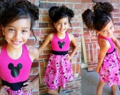 MINNIE MOUSE Dress, Girls Dress, Minnie Mouse, Pink Black Minnie, Aurora Dress, Sleeveless Dress - Available in  2y - 12y
