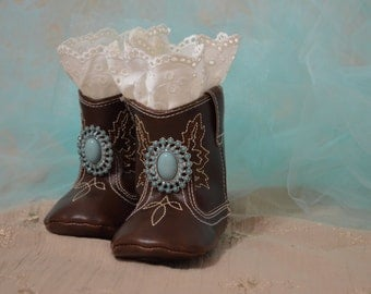 Soft Sole Baby Girl Cowgirl Boots...Baby Shoes...Baby Girl Boots...Photography Props...Lace Boots...Cowgirl Boots...Turquoise