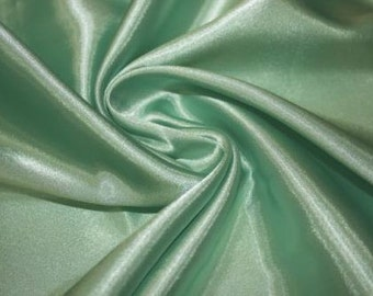 Mint Charmeuse Satin Fabric by the yard