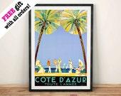 COTE D'AZUR PLAKAT: Ogłoszenie w stylu vintage, Reprodukcja Wall Hanging