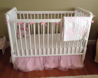 Reserved for Megan -- ORGANIC Crib Guards -- 4pc Custom Crib Rail Teething Guards for Baby/Toddler in pink w/quilting