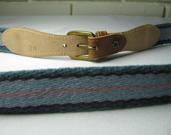 80's leather and cotton woven belt size 34