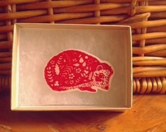 Hedgehog Brooch // Hedgehog Art // Nature Art // Brooch // Art Brooch // Wearable Art// Pen and ink illustration // Nature gift // xmas gift