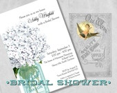 Rustic Chic White Bridal Shower Invitations - Mason Jar, Vintage Hydrangea Flowers - Custom Bridal Shower Invitations Printed