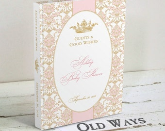 Pink and Gold Princess Baby Shower Guest Book, Wishes for Baby, Baby Advice Book, Elegant Damask Custom Personalized for a Baby Girl Shower