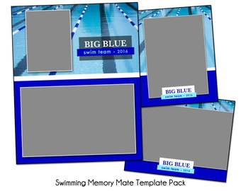 SWIMMING PACK A - Memory Mate Sports Photo Templates - Digital Files Only