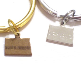 NORTH DAKOTA Keychain, Silver N Dakota State Charm Keychain, Gold North Dakota Key Ring, Silver State Keychain,  N Dakota Charm