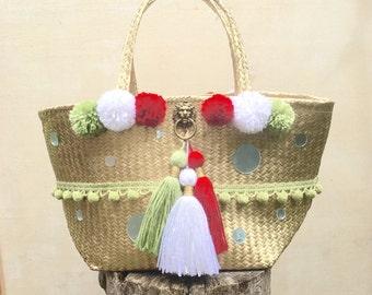 Expandable Italian Market Bag/Straw Tote