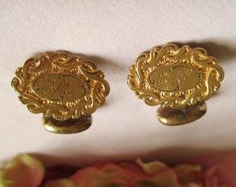 Vintage Cufflinks Victorian Gold Cipher Monogram Letters Initials Bean Back Detailed Design Cuff links  Vintage Cufflinks By Vintagelady7