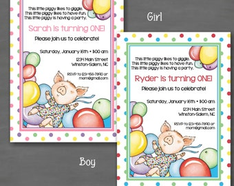If You Give a Pig a Party Birthday Invitation--Custom Printable; Pink Green Blue Yelow Red Purple Polka Dot Laura Numeroff