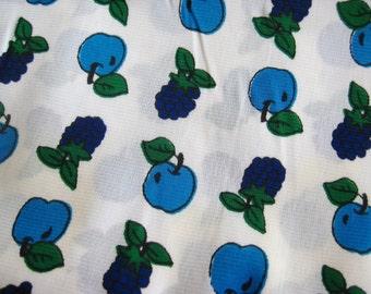 Vintage 60s Grape & Apple Fruit Salad Print Novelty Nylon Jersey Fabric Remnant 1.5 Yards