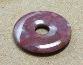 30mm Stone Donut, Natural Fancy Jasper Stone, Swirled Gray, White Spots, Plum Purple Stone, Centerpiece, Bead Supply, Craft Beads