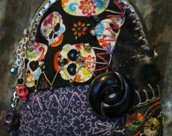 Happy Sugar Skulls Crazy Quilt Art Purse OOAK  Day of the Dead Coin Purse, Wristlet, Girls Bag, Vintage Buttons