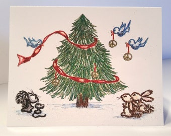 SALE! Glittered Christmas Card ~ Hand Glittered Forest Animals Christmas Card, Original Artwork Colored Pencil Drawing