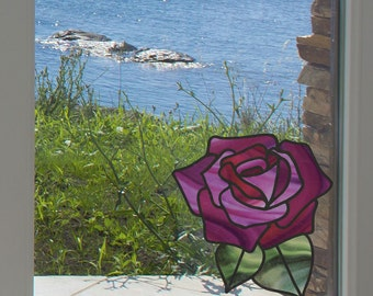 """CLR:WND - Rose Stained Glass -D1- See-Through Vinyl Window Decal - © 2015 YYDC (5.5""""w x 5.75""""h) (Color Choices)"""