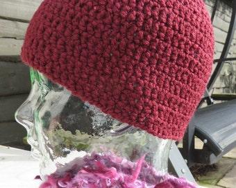 Crochet beanie hat in textured burgundy yarn