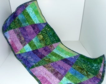 Table Runner Quilted Runner Dresser Scarf Handmade Purple Green
