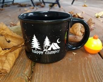Happy Camper Black 13 oz. Coffee Mug Camping Ceramic Camping