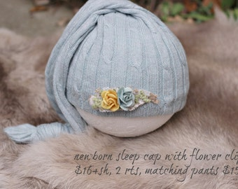 ready to ship, newborn photography prop, upcycled light baby blue sleep hat with flower clip , newborn baby boy prop, newborn boy sleep cap