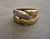 Wide Band Ring Infinity Eternal Knot MODERNIST Vintage Shabby Chic Gold and Matte Silver Half and Half SIZE 8 Men or Women