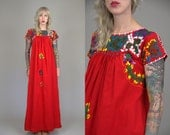 70s Floral Mexican Hand Embroidered Oaxacan Red Cotton Full Length Bohemian Artisan Festival Dress