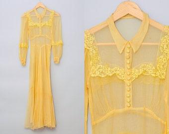 1930s Yellow Lace Dress Full Length Silk Dress