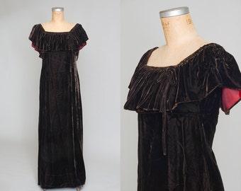 70s Chocolate Velvet Empire Waist Full Length Dolly Maxi Dress