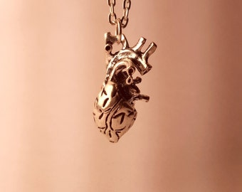 Anatomical Heart Necklace - Silver - Human Heart 3D - Custom Chain Length - Christmas Gift
