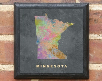 Minnesota MN Splatter Watercolor Paint Effect Wall Art Sign Plaque Gift Present Personalized Color Custom Minneapolis St paul Duluth classic