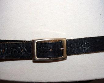 UNISEX 70s dark black LEATHER belt L large women men